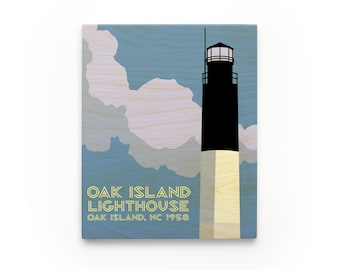 Oak Island Lighthouse Art Block, North Carolina Lighthouse Art