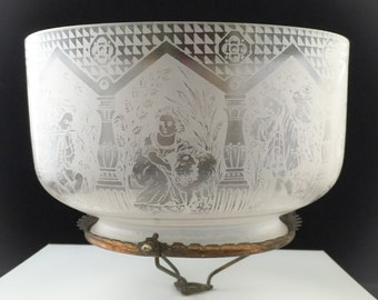 Etched Glass LAMP SHADE Victorian Figurines *Rare* Antique 1880 *So Special!