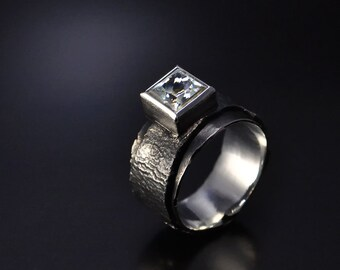 OOAK Handmade Unique Sterling Silver Ring with White Topaz