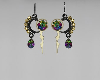Rainbow Swarovski Crystal Steampunk Earrings, Electra Swarovski Crystal, Swarovski Earrings, Crystal Earrings, Colorful, Kronos II v9