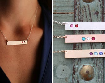 Birthstone Necklace • Mother's Day Gift Sterling Silver Birthstone Bar Necklace • 14K Rose Gold Bar Gift Birthstone Jewelry Crystal • BB_18