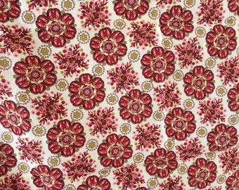 Pink and Red Feed Sack Cotton Floral Medallions 5 pieces available
