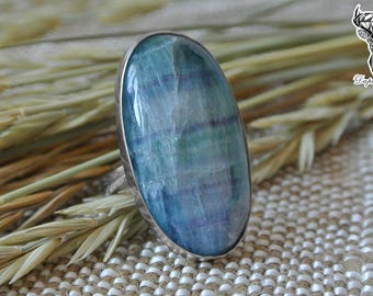 Fluorite ring boho style, oval stone ring, big fluorite ring, rainbow fluorite ring