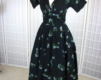 1950s Jerry Gilden Cotton Party Dress with Forget- me -Nots.......size Small to  Medium.....  FLIRTATIOUS & BEAUTIFUL