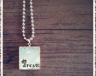 Scrabble Game Tile Jewelry - Inspiration Series - Dream - Scrabble Pendant Necklace - Customize