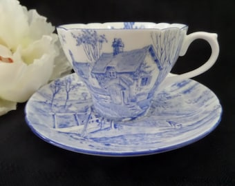 Scenic Shelley Tea Cup -- Surrey Scenery -- Oleander Shape -- Shelley Cup and Saucer -- Blue and White -- English Tea Cup