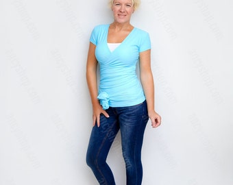 Yoga Wrap Top, Blue Convertible Top, Baby Blue Top, Wraptop, Blue Maternity Top, Short Sleeve Wrap, Womens Wrap Blouse