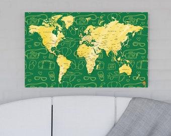 Modern Home Decor, Wall Art Map, Travel Map, World Map, Travel world map, world map with pins, Push pins travel map, Trip map, Love Travel