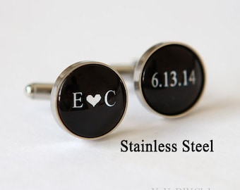 Grooms Gift from bride, Wedding Cufflinks Custom Wedding Date Initials Color,  Personalized Cufflinks,Groom Cuff Links