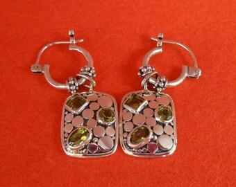Three Peridot earrings, Sterling Silver Peridot Dangle Earrings, earrings, handmade earrings, Amethyst, Birthstone, Gift for her