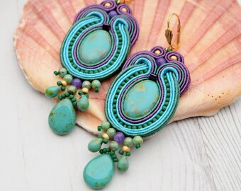 Turquoise Green Purple Soutache Earrings-Large Statement Earrings-Hippie Boho Earrings-Long Dangle Beaded Earrings-Retro Earrings