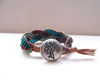 Tree Concho Beaded Braided Leather Wrap Cuff Bracelet, Beaded Leather Cuff, Tree Bracelet, Tree Jewelry, Leather Bracelet, Tree of Life Cuff