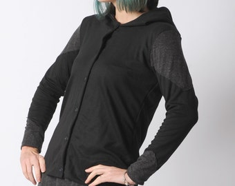 Black hooded jacket, Black womens jersey sweater, Black and grey cardigan with hood and long sleeves, Your size, MALAM
