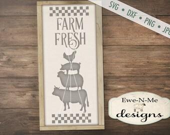 Farm Animals SVG - cow svg - pig svg - sheep svg - chicken svg - farmhouse svg - Farm Fresh SVG -  Commercial Use svg, dxf, png, jpg