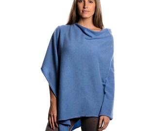 Periwinkle Blue Cashmere Poncho/Blue Cashmere Poncho/Cornflower Blue Cashmere Poncho