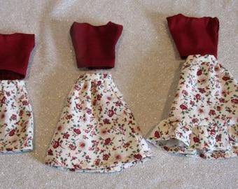 Plus Size Barbie Outfits, Burgundy Flowers - Handmade