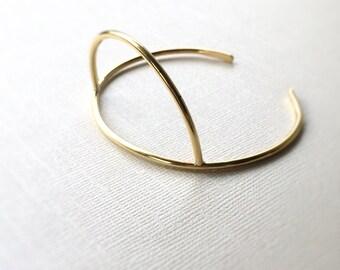 Arc Cuff Bracelet ~ Simple Gold Geometric Arch Brass Cuff ~ Minimal Half Circle Stacking Bracelet