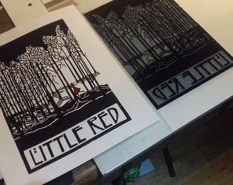 Little Red - original, limited edition linocut print by Polly Marix Evans