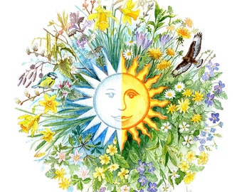 Spring Equinox Roundel Card, Alban Eilir, watercolour, digitally printed