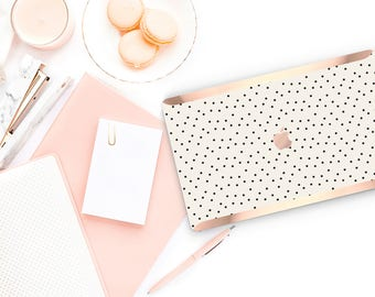 Macbook Pro 13 Case Macbook Air Case Laptop Case Macbook Case . Dots and Cream with Rose Gold Chrome Edge             - Platinum Edition