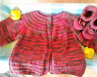 4 Months + Pink/brown/orange knitted jacket/sweater and booties set - newborn baby set  - colourful baby jacket/booties - knitted baby gift