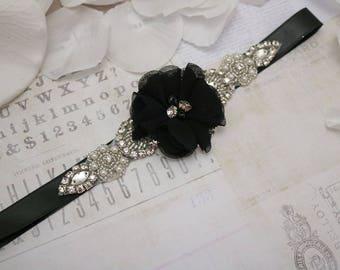 Wedding belt flower girl belt, black flower belt, bridesmaid belt, wedding sash, sash belt, crystal rhinestone belt, dress belt