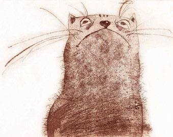 Etching - cat etching - cat art - printmaking - fine art etching - original etching - original art - 'The Cat'