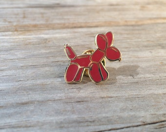 Red Balloon Dog Enamel Pin, Hard Enamel Pin, Brooch, Gold Pin, Lapel Pin, gifts for him, Stocking Stuffer