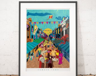 Camden London : The Curious Creatures of Camden London, Illustrated poster, matte, Giclee Art Prints. Wall Art, Home decor, Prints of London