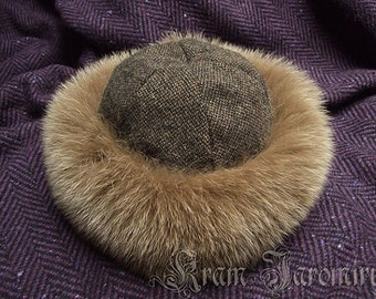 Early medieval round hat with fox fur / Viking Slav