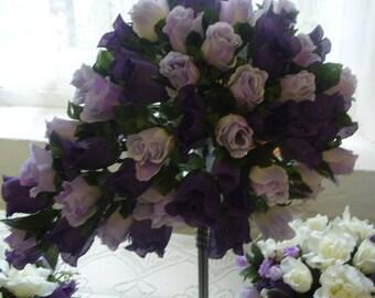 PURPLE RAIN. Matching Posy SET   Hand Wired  Purple and Mauve  Tear drop Bouquet      Matching Posy Set