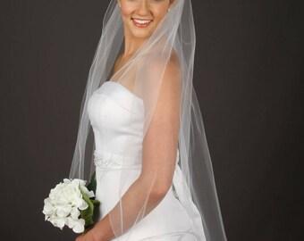 1 Tier Wedding Veil - Simple Bridal Veil - Fingertip Length Veil - Elegant Veil - Chapel Veil - 10 Sizes & 11 Colors!  Fast Shipping!