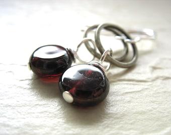 Garnet Earrings, Garnet Gemstone Earrings, Hoop Earrings, Dangle Earrings, Metalwork Earrings, Gemstone Earrings, Garnet Jewelry