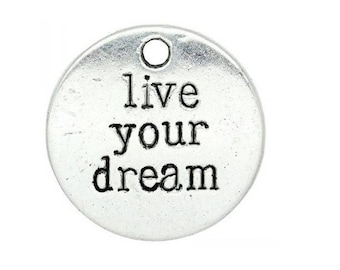 engraved round charm live your dream your dreams screw Silver (18)