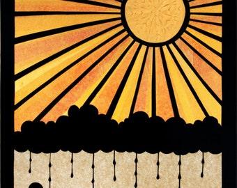 It's Always Sunny Somewhere - 11 x 14 inch Cut Paper Art Print