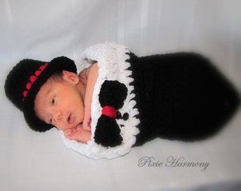 Baby BOY Top Hat and TUXEDO Cocoon - Newborn Photo Prop - Bow Tie -  Reborn Doll Clothes - Made to Order