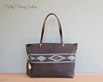 Southwest Waxed Canvas Tote in Pine in 2 Sizes, Large Aztec Tote with Leather Handles, Zipper Tote Bag with Boho Tribal Accent, Shoulder Bag