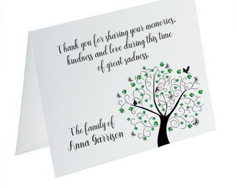 Funeral Thank You Cards, Sympathy Acknowledgement Cards, Bereavement Cards, Funeral Cards, Personalized Funeral Note Cards, Tree of Life