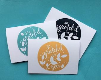 So Grateful for You - Set of 3 Thankyou cards - floral lettering