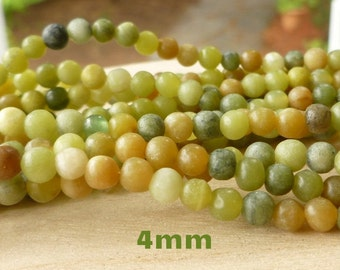 4mm New Jade Gemstone Beads - Wrap Bracelet Beads - 4mm Gemstone Beads - Autumn Colors Beads - Green Beads - Wrap Bracelet Supplies