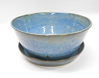 Pottery Planter and Plate, Blue Ceramic Planter with Plate, Planter with Drainage Hole, Pot with Drainage Hole, Large in Blue