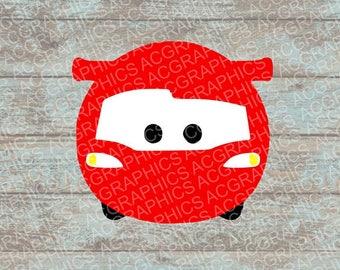 Lightning McQueen Tsum Tsum SVG, DXF, JPEG, and Studio Downloads