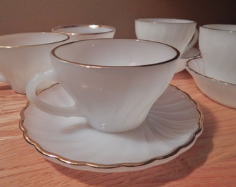 Anchor Hocking Fire King Assorted Tea Cups and Saucers Swirl Golden Shell Pattern