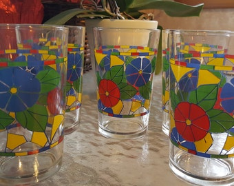 Vintage Colorful Glasses-Red, Yellow, Blue and Green Shades 5 total 1970s D26