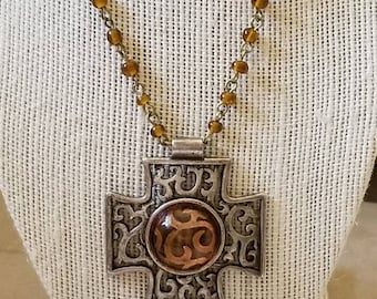 Amber Celtic Cross Necklace, Cross Pendant, Beaded Amber Chain, Antique Gold, Large Ornate Celtic Cross, Amber  Cabachon Accent, Art Deco