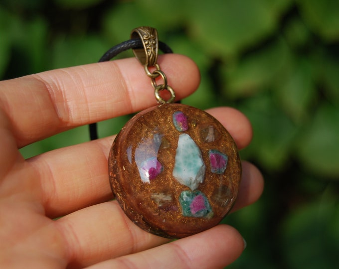 Real Larimar and Ruby in Zoisite Orgonite® Pendant Necklace Unisex