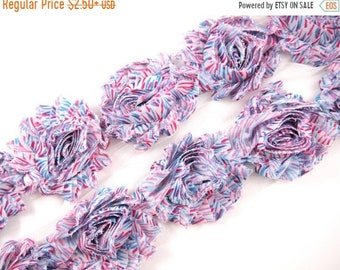 "Clearance 50% OFF 2.5"" PRINTED Shabby Rose Trim -Pink/Blue Zebra  - Printed Chiffon Trim - Shabby Trim - Hair Accessories Supplies"