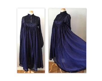 Vintage 70s Hippie Chic Gauze Dress XS S Dk Blue Golden Flecks NOS
