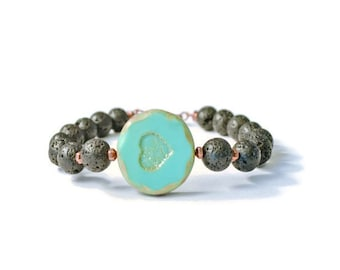Aromatherapy Bracelet, Czech Glass and Lava Stone, Turquoise Heart Pendant, Essential Oil Jewelry