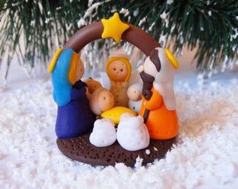 Polymer Clay Nativity Scene,Christmas Nativity Set,Nativity Decoration,Christmas Decoration,Polymer Clay Nativity